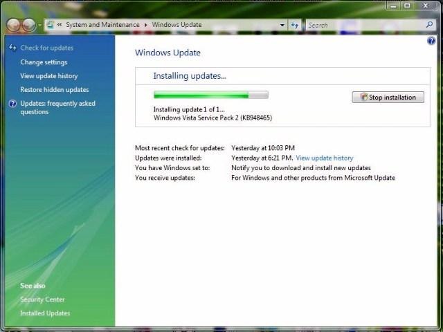windows vista manual update service pack 2
