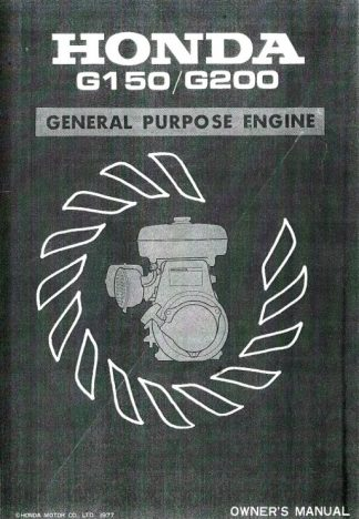honda g100 engine workshop manual