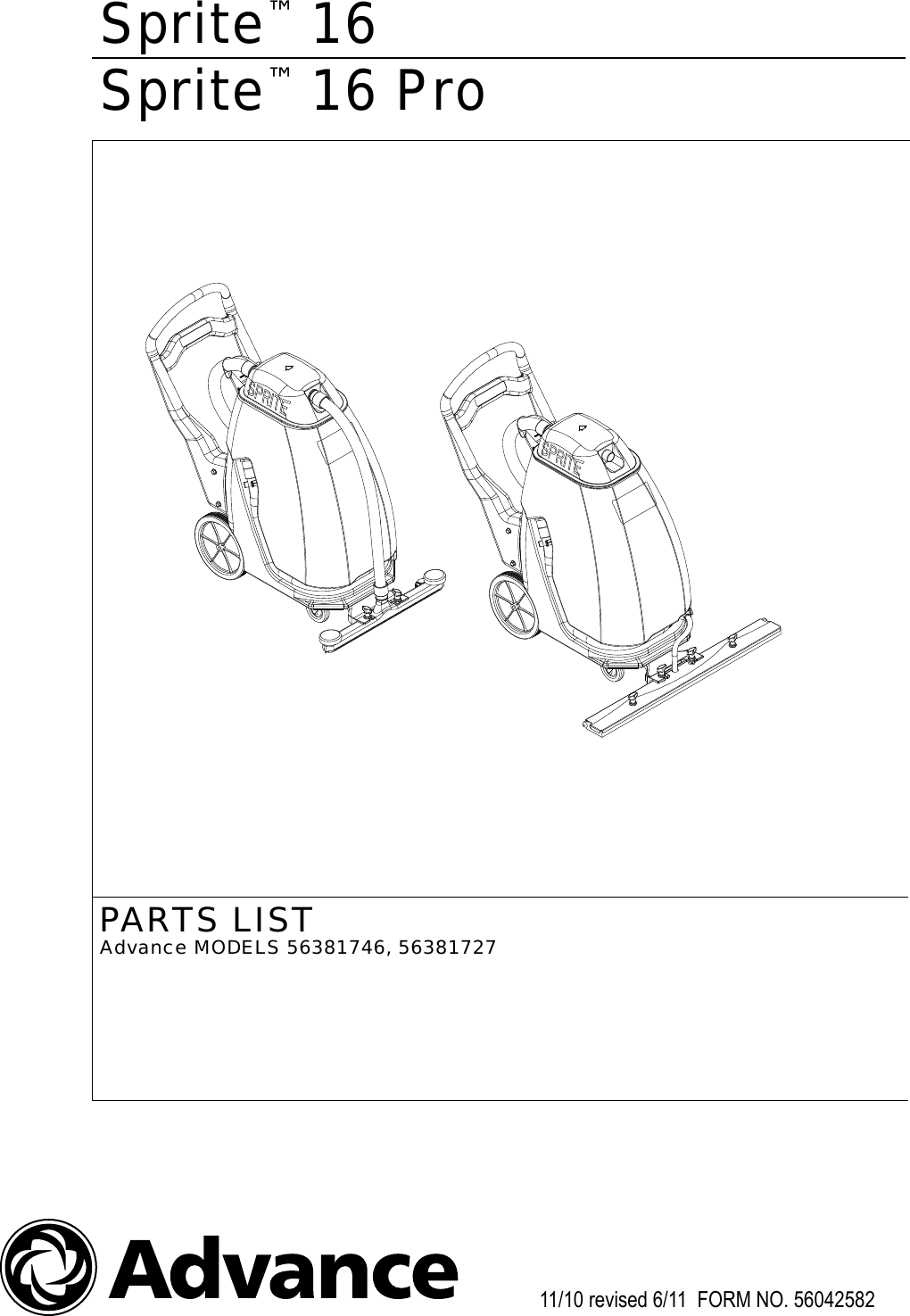 advance sprite 12 parts manual