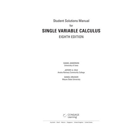 james stewart student solutions manual chapters 12 early trancendentals