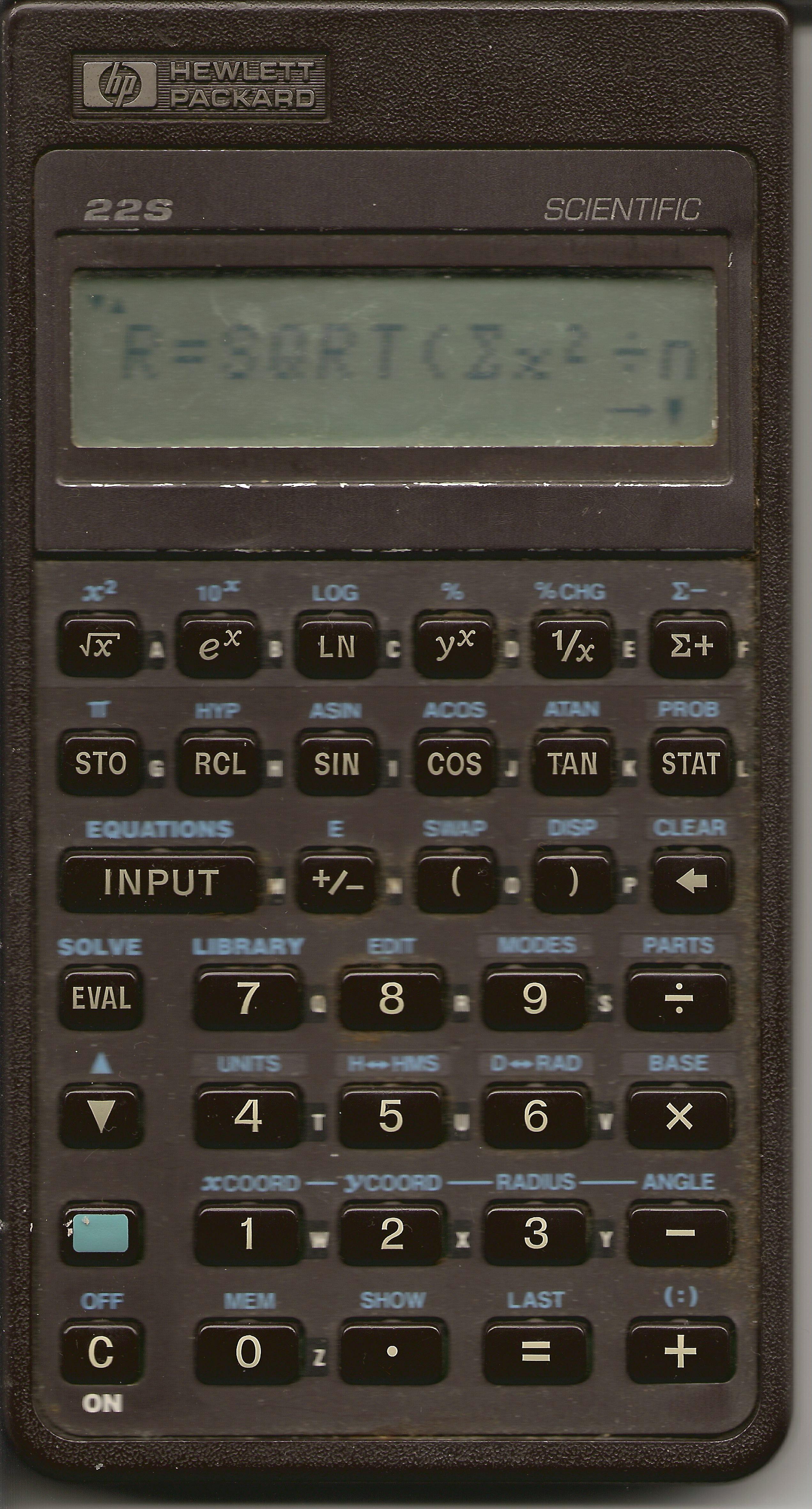 hp 22s calculator user manual
