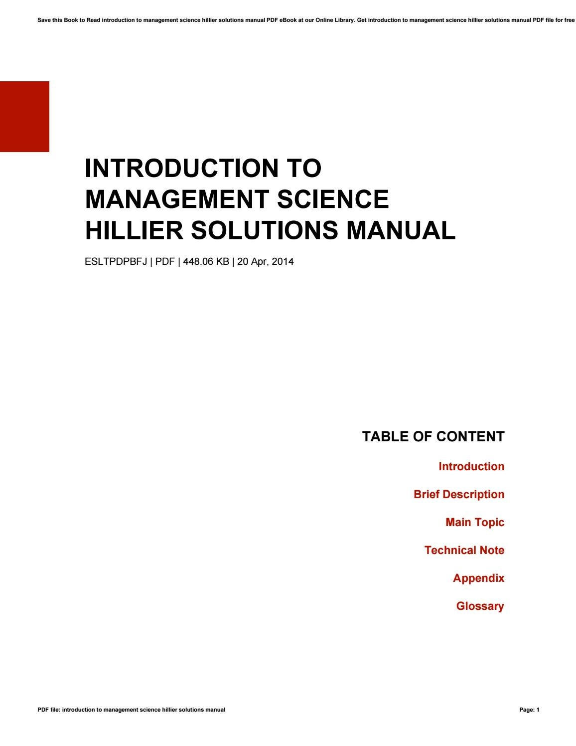 introduction to management science solution manual