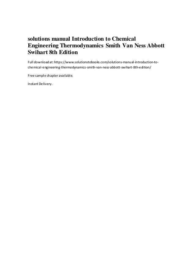 introductory chemical engineering thermodynamics solutions manual